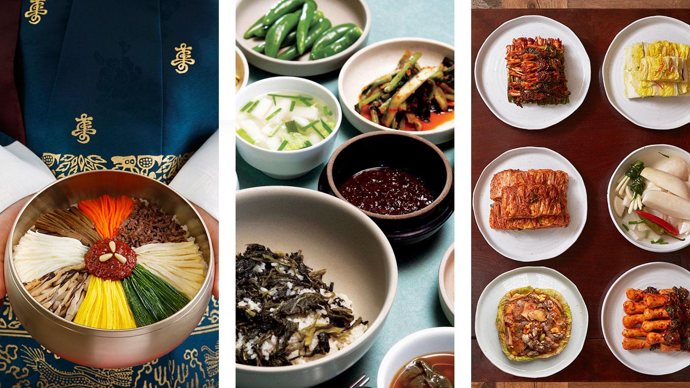 Im Gegensatz zur deutschen Küche erhält der Gast im koreanischen Restaurant häufig alles frisch an den Tisch und kocht, brät oder grillt dann selbst. Beliebte Gerichte in Südkorea sind Bibimbap (links), Gondeure Namulbap (Mitte) und Kimchi (rechts). // Copyright © Korea Tourism Organization