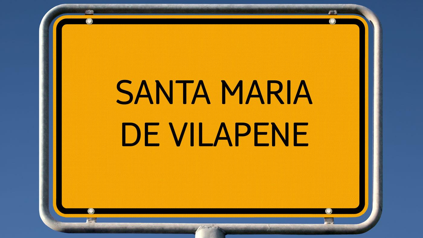 Santa Maria de Vilapene in Spanien - Hier wird besonders oft das Ortsschild abgeschraubt!