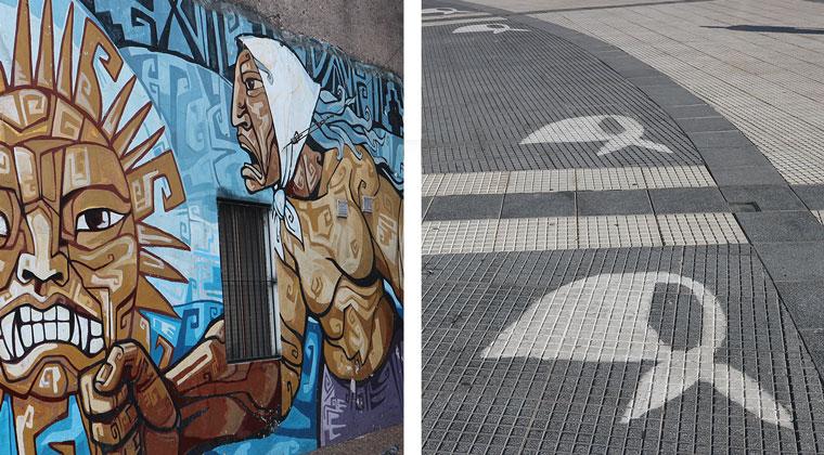 Graffitis von Kopftüchern gedenken an die dunklen Zeiten der Militärdiktatur in Argentinien.