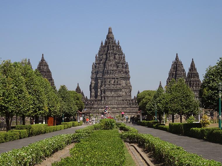 Blick auf den Prambanan Tempel, zweiter Stopp an diesem Tag.