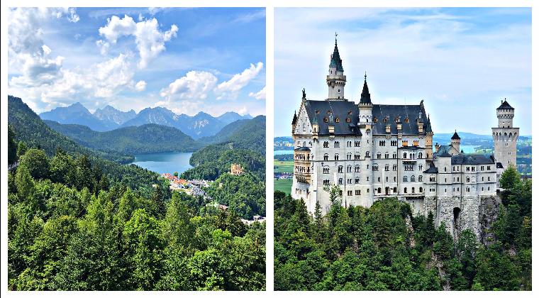 Ausblick auf die Alpen und das Schloss Neuschwanstein
