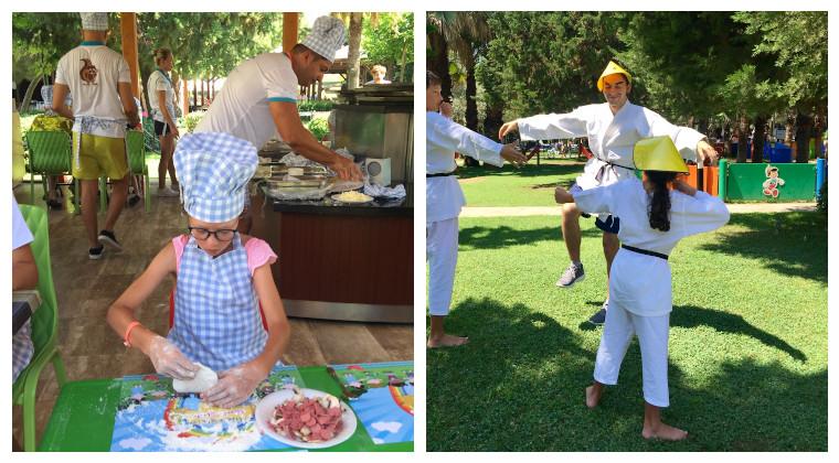 Kind knetet in einer Kochschürze einen Pizzateig und Kind macht Karate.