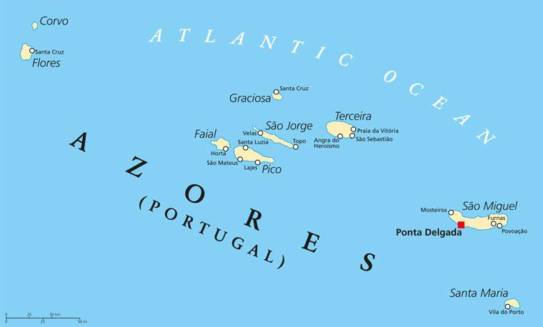 Karte Azoren