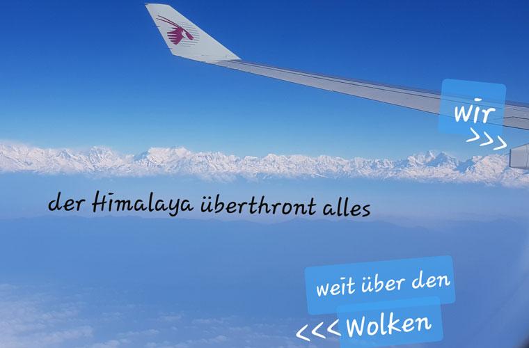 Himalaya Aussicht aus dem Flugzeug