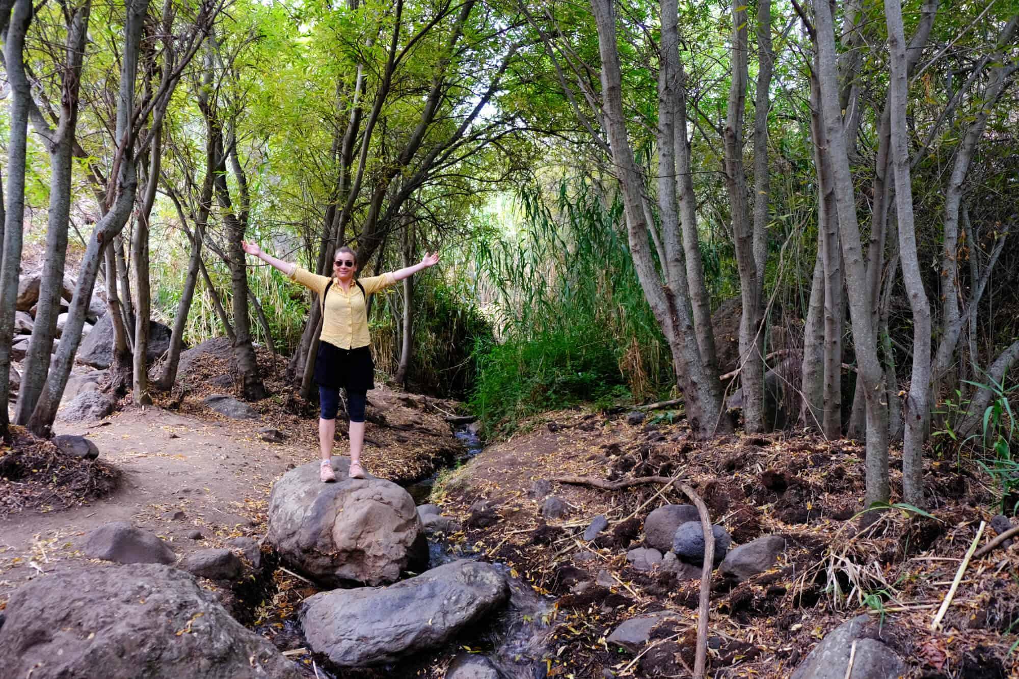 Anna Stella Bonin bei der Wanderung zu den Wasserfällen auf Gran Canaria