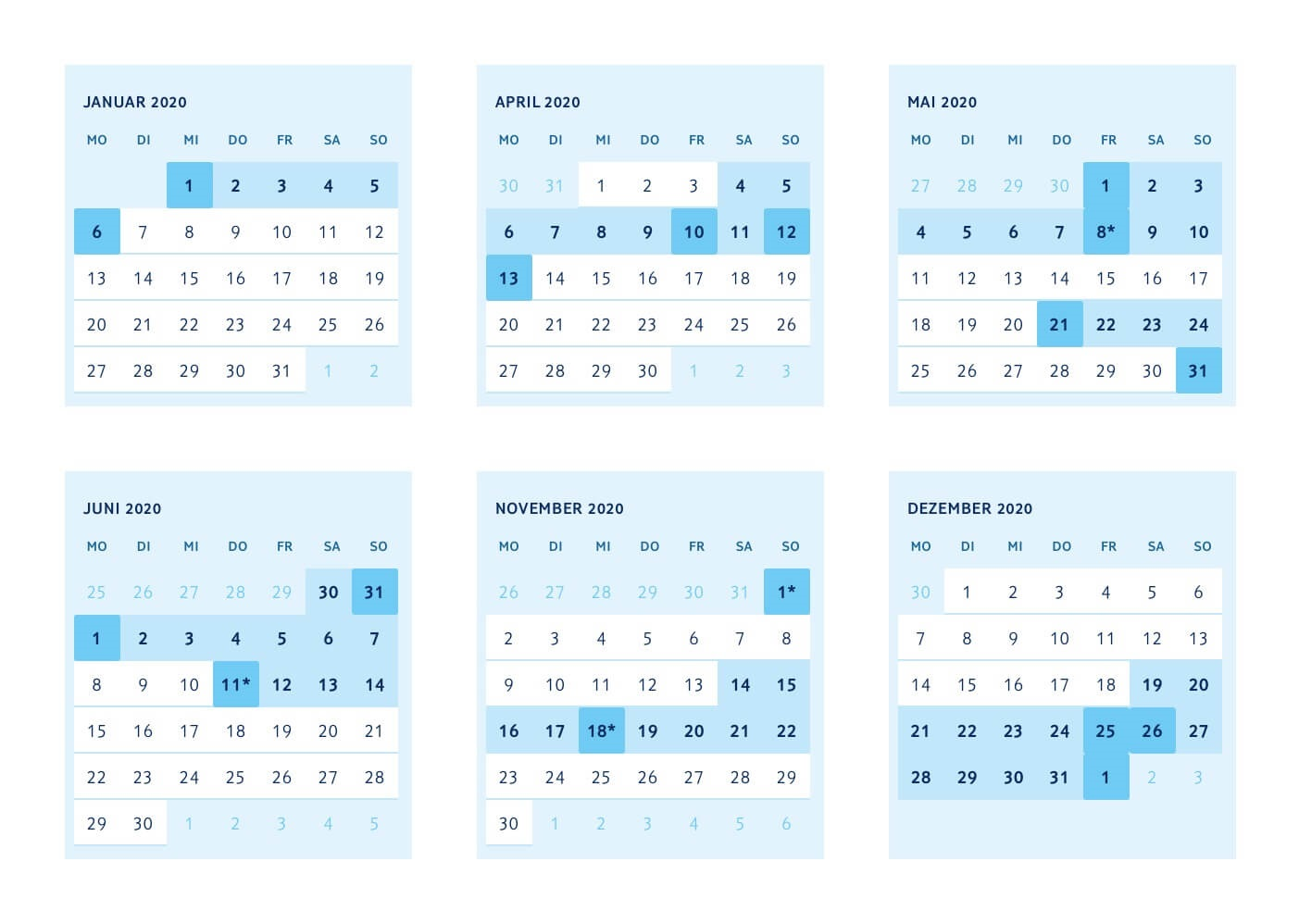 Brückentage Kalender 2020