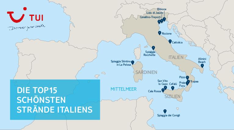 italien strand karte Die 15 schönsten Strände Italiens   TUI.Reiseblog ☀