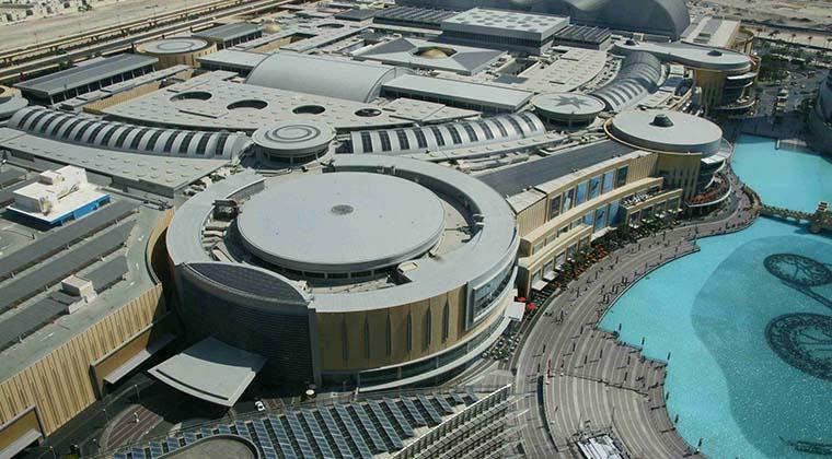 """Mehr als eine halbe Million Quadratmeter Verkaufsfläche: Blick aus luftiger Höhe auf die """"Dubai Mall"""""""