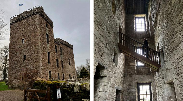 Huntingtower Castle von vorne und innen