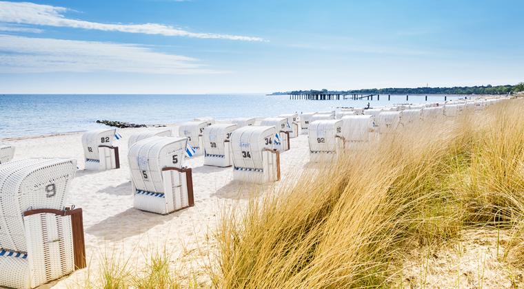 Blick auf Strandkörbe