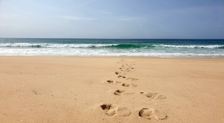 Portugal Strand Fußstapfen
