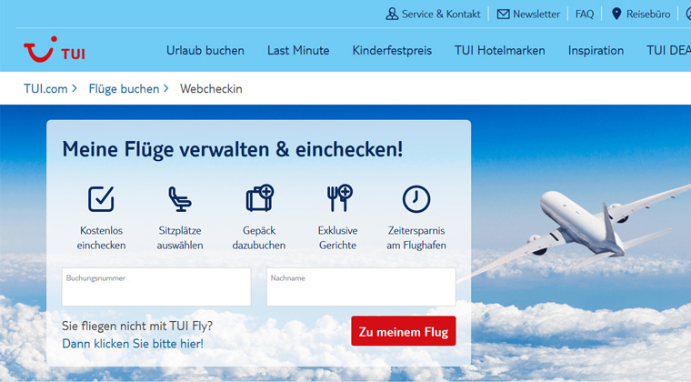 TUI fly Web Check-in