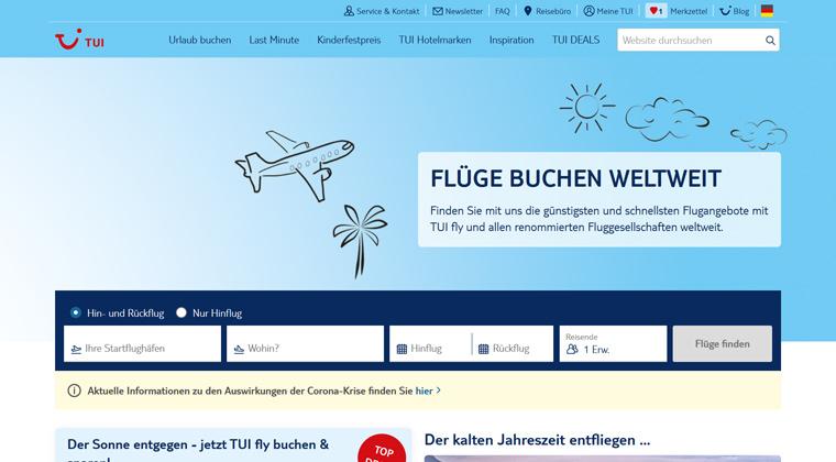 Flüge buchen weltweit: Jetzt auf TUI.com