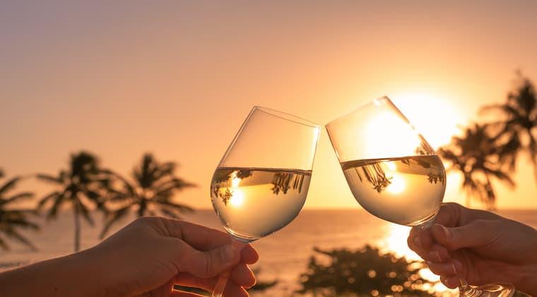 Weinglas Sonnenuntergang