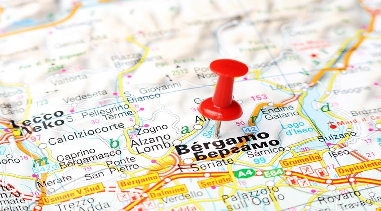 Landkarte Stecknadel Bergamo