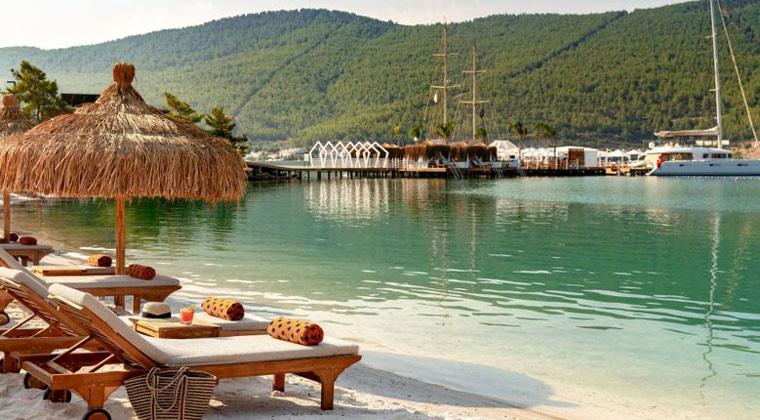 Türkei Hotel Lujo Bodrum Strand mit Liegen