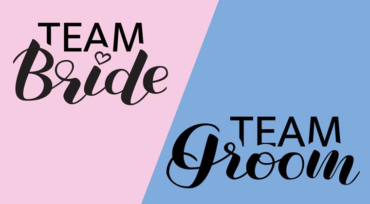 Ideen Junggesellenabschied Collage team bride team groom